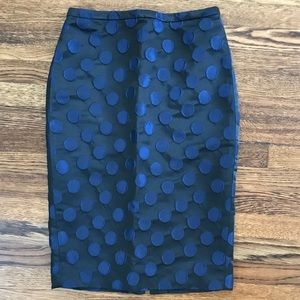 Jcrew midnight dot pencil skirt silk sz00